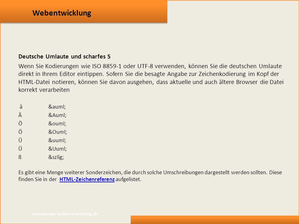 Webentwicklung Deutsche Umlaute und scharfes S