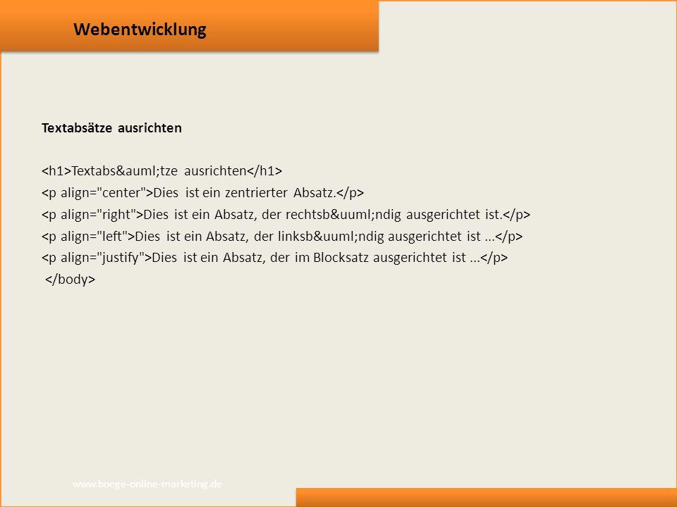 Webentwicklung Textabsätze ausrichten