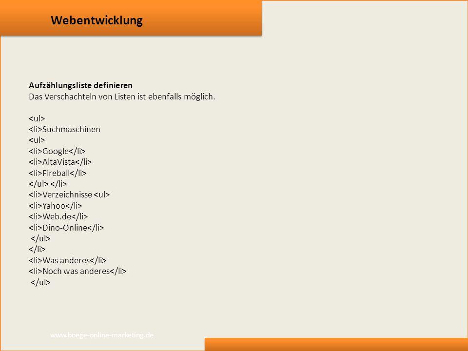 Webentwicklung Aufzählungsliste definieren