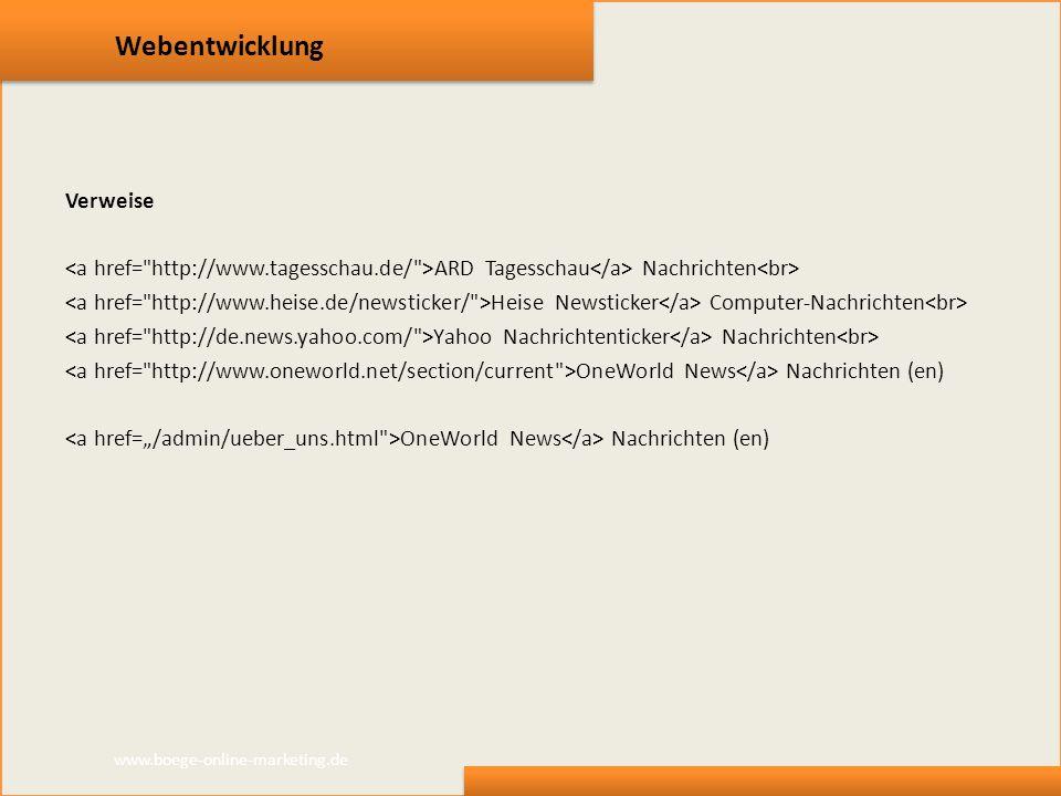 Webentwicklung Verweise