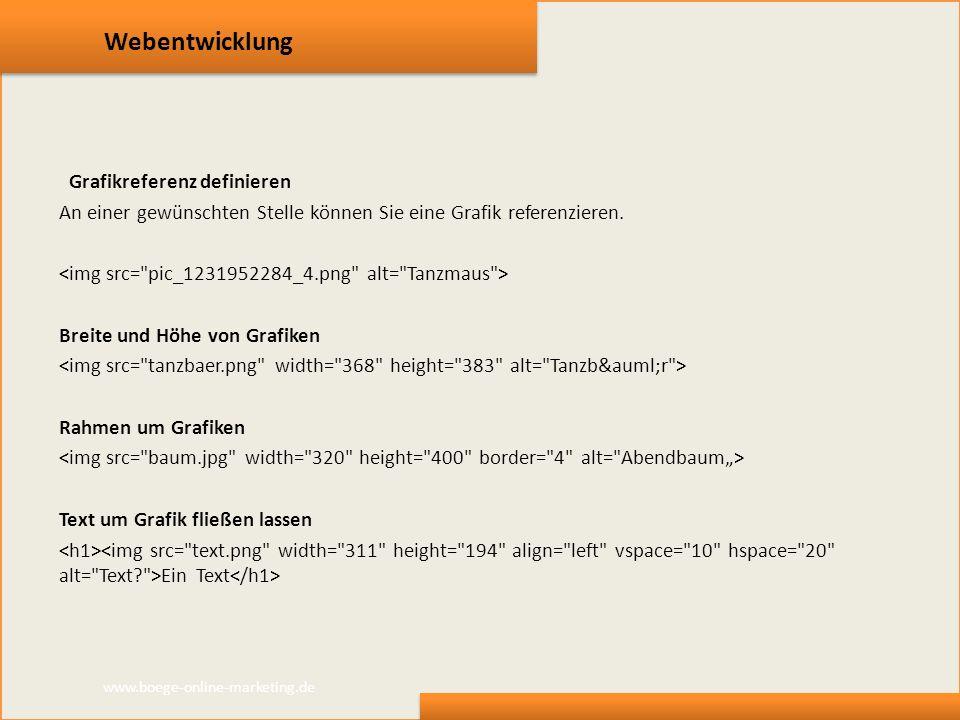 Webentwicklung Grafikreferenz definieren