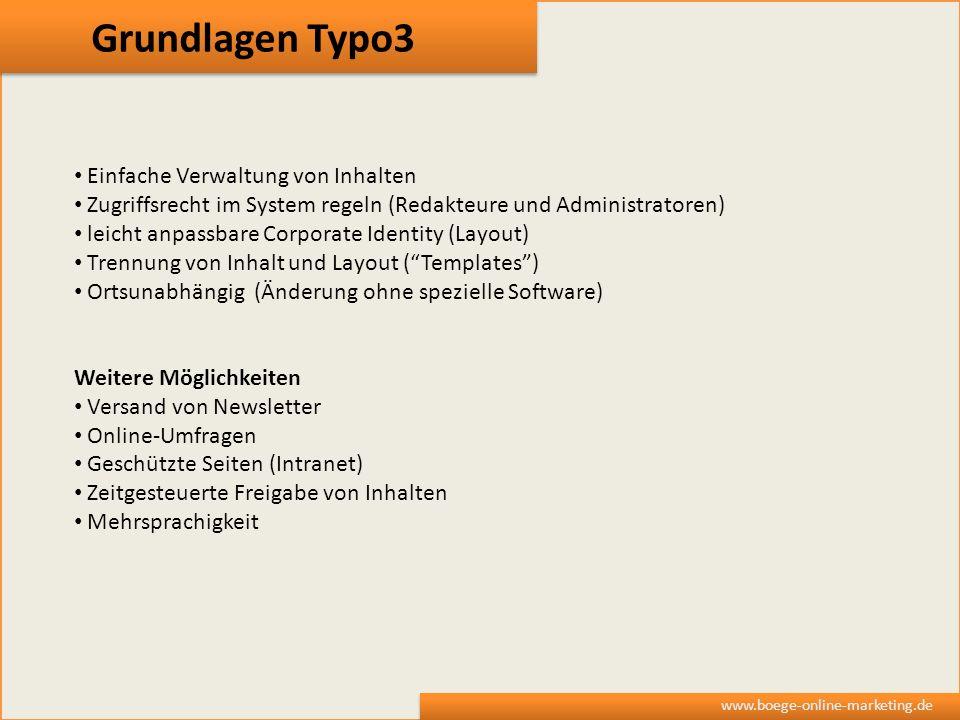 Grundlagen Typo3 Einfache Verwaltung von Inhalten