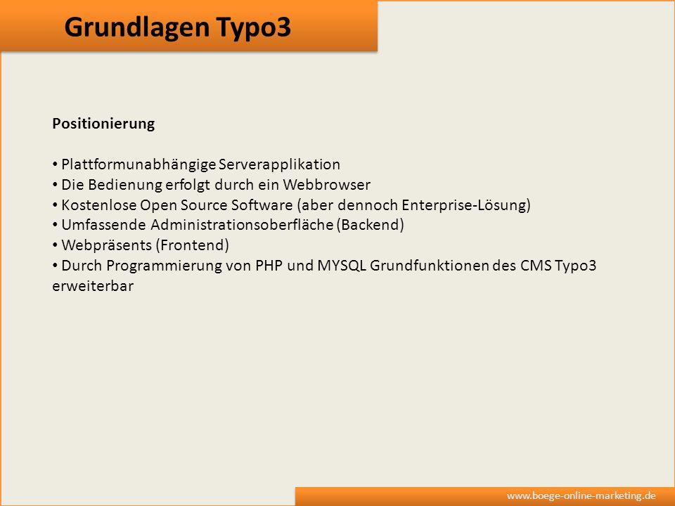 Grundlagen Typo3 Positionierung Plattformunabhängige Serverapplikation