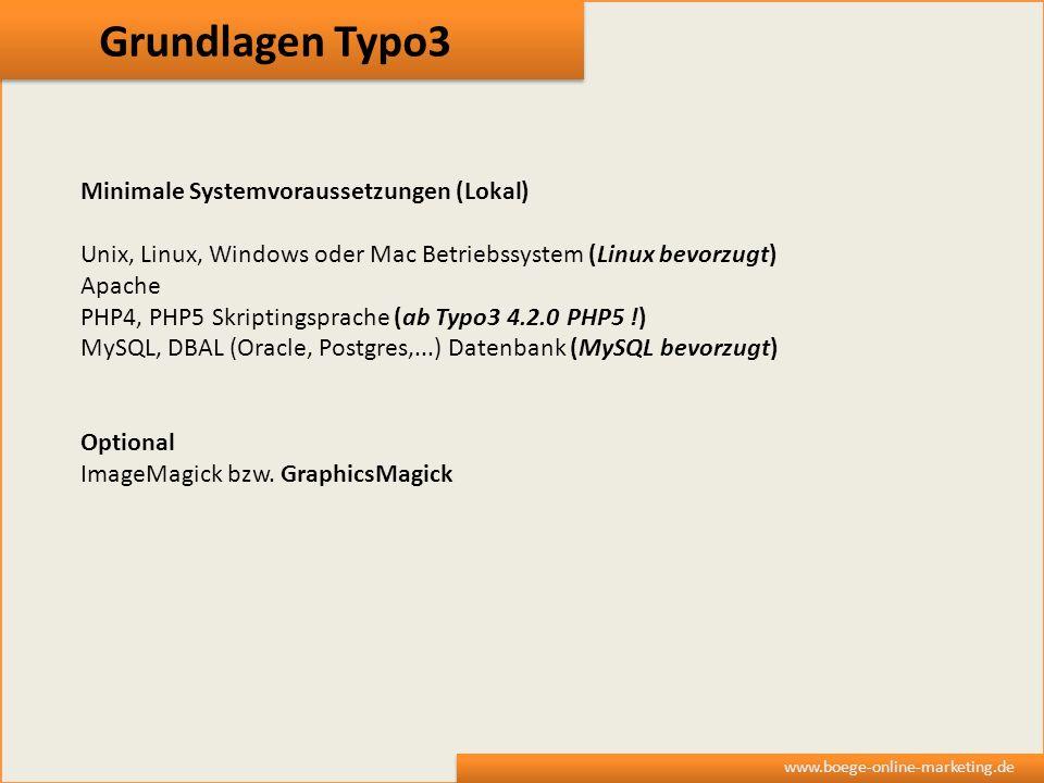 Grundlagen Typo3 Minimale Systemvoraussetzungen (Lokal)