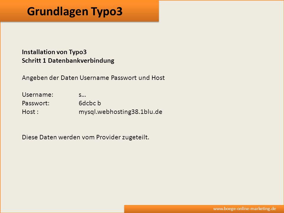 Grundlagen Typo3 Installation von Typo3 Schritt 1 Datenbankverbindung