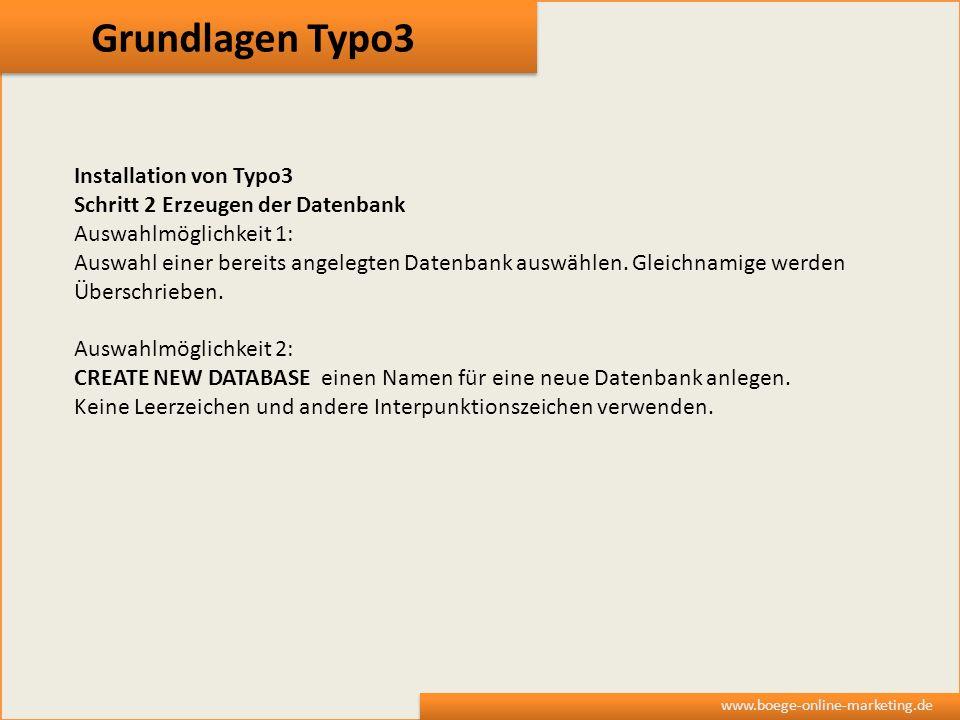 Grundlagen Typo3 Installation von Typo3