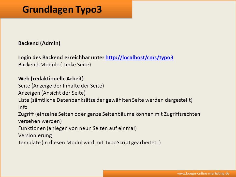 Grundlagen Typo3 Backend (Admin)
