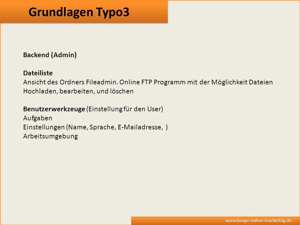Grundlagen Typo3 Backend (Admin) Dateiliste