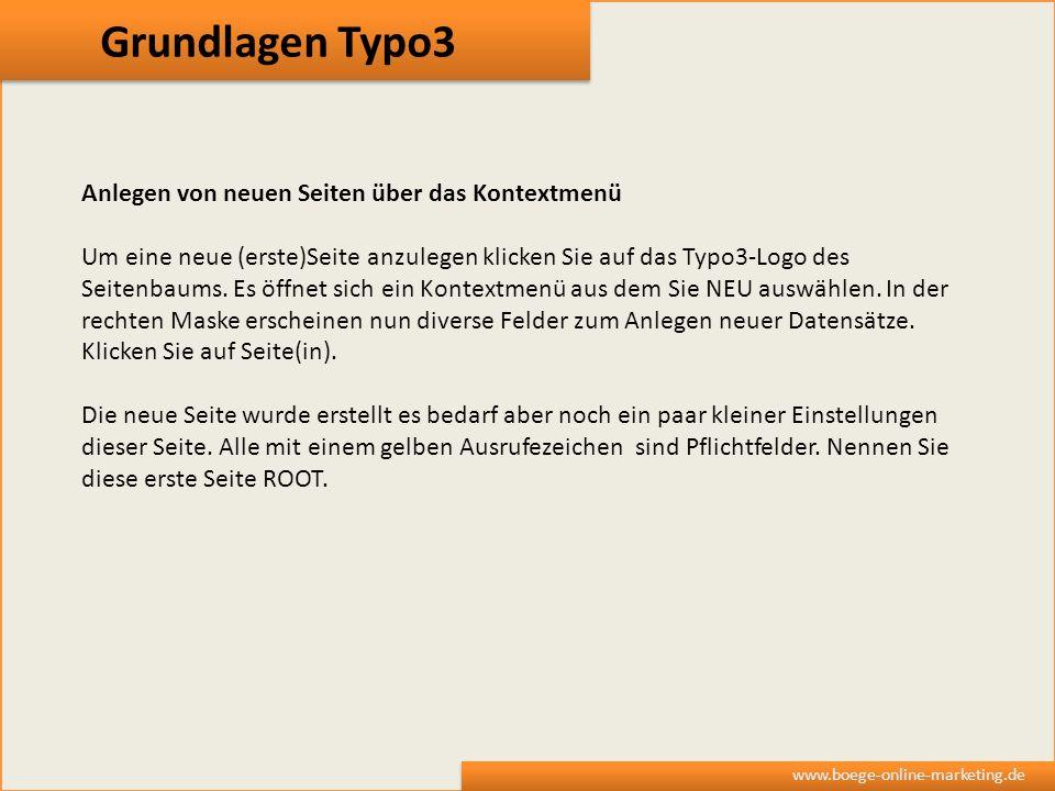 Grundlagen Typo3 Anlegen von neuen Seiten über das Kontextmenü