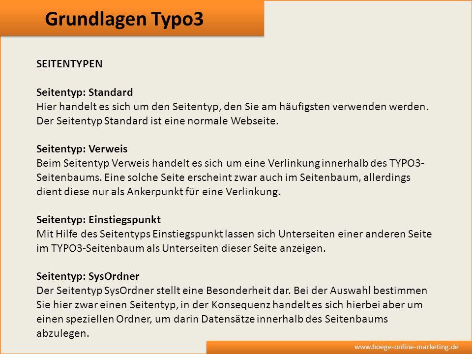 Grundlagen Typo3 SEITENTYPEN Seitentyp: Standard