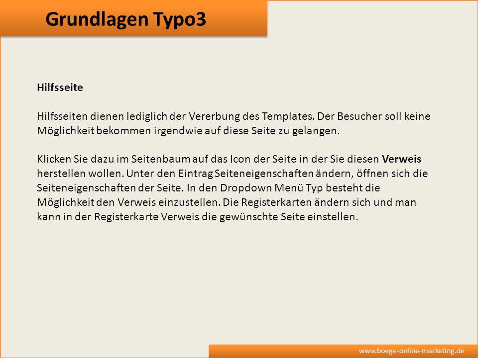 Grundlagen Typo3 Hilfsseite