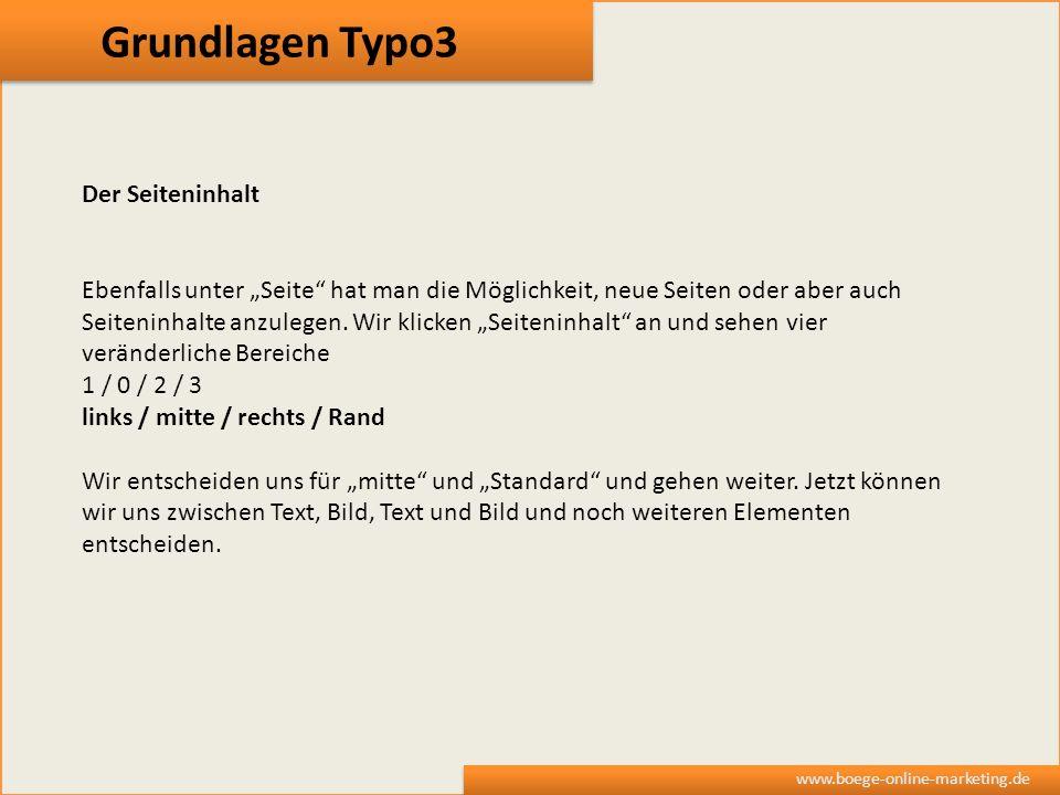 Grundlagen Typo3 Der Seiteninhalt