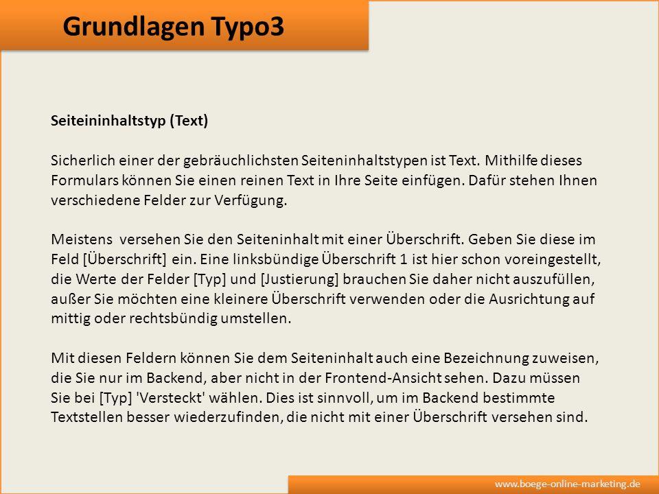 Grundlagen Typo3 Seiteininhaltstyp (Text)