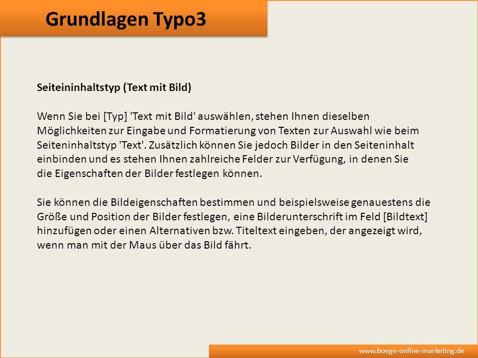 Grundlagen Typo3 Seiteininhaltstyp (Text mit Bild)