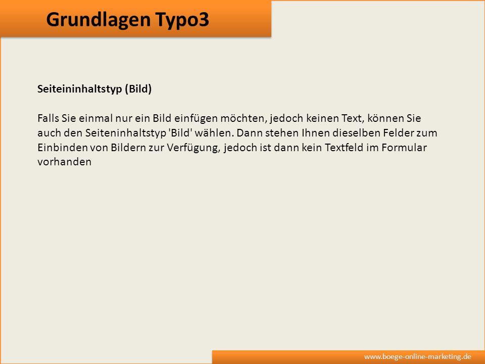 Grundlagen Typo3 Seiteininhaltstyp (Bild)