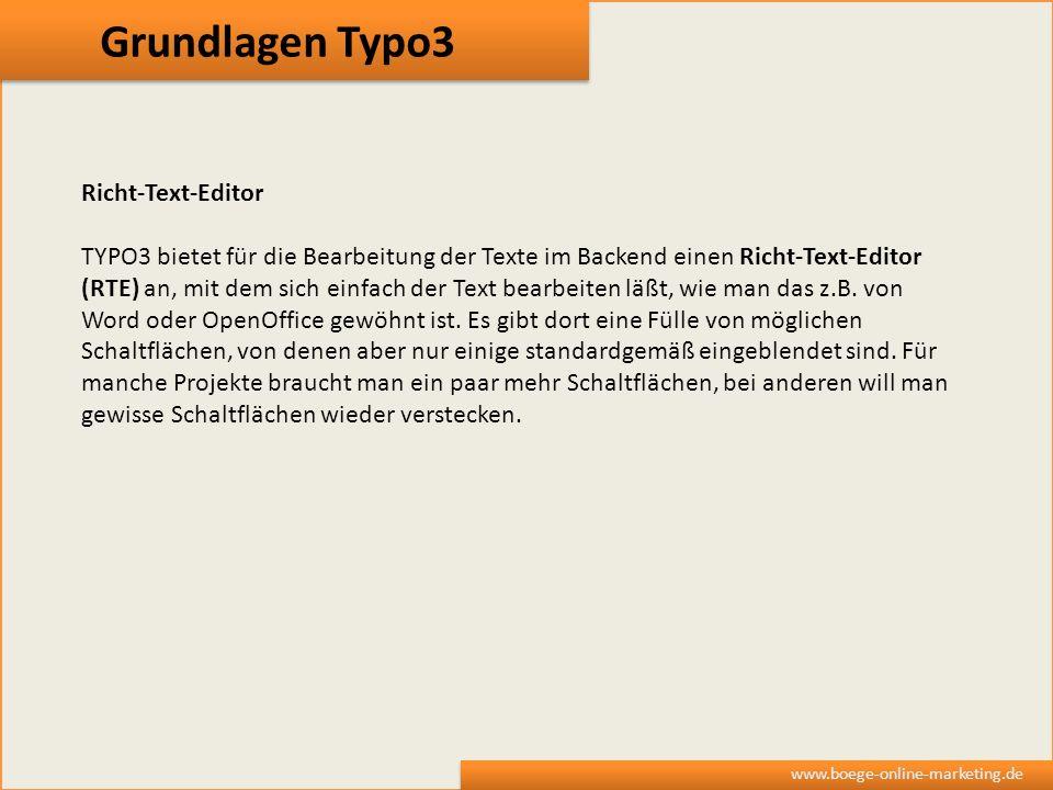 Grundlagen Typo3 Richt-Text-Editor