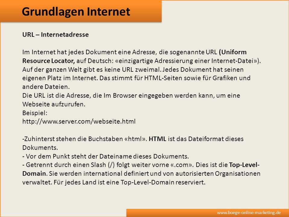 Grundlagen Internet URL – Internetadresse