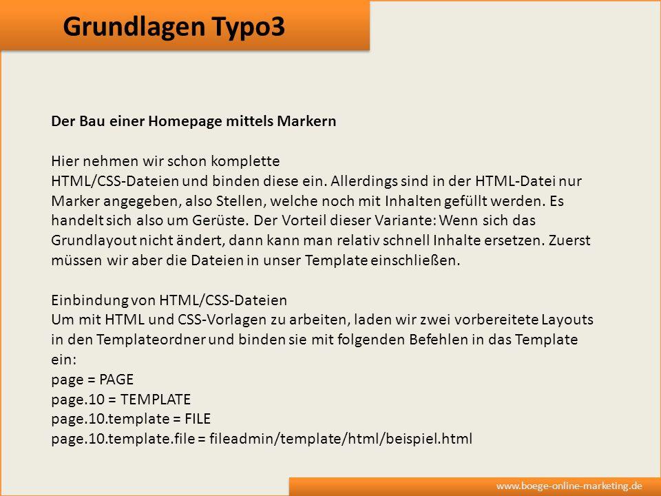 Grundlagen Typo3 Der Bau einer Homepage mittels Markern