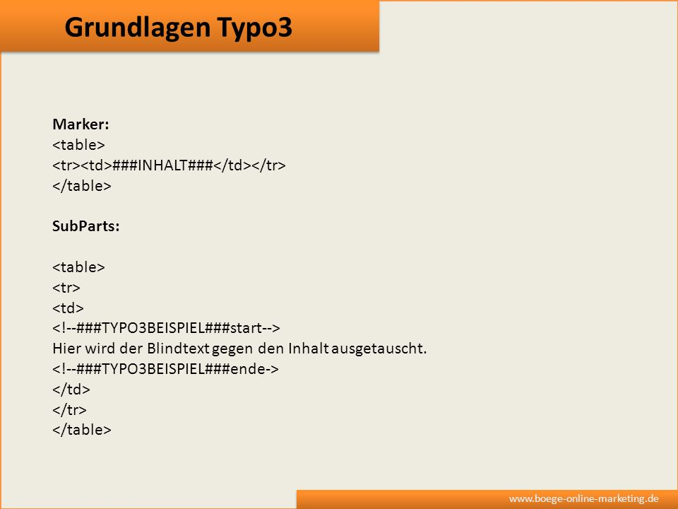 Grundlagen Typo3 Marker: <table>