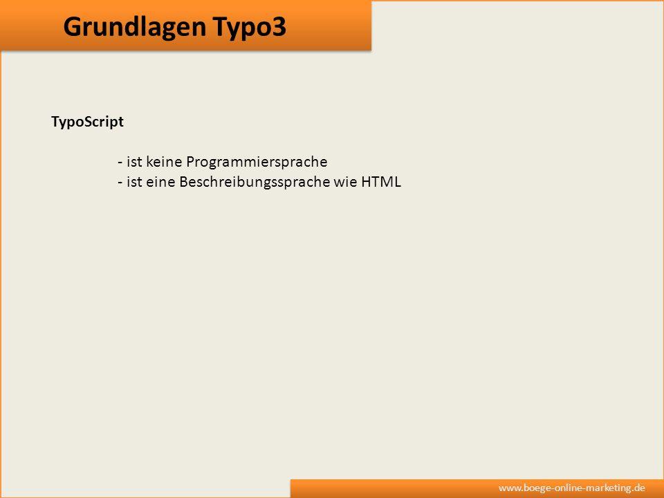 Grundlagen Typo3 TypoScript - ist keine Programmiersprache