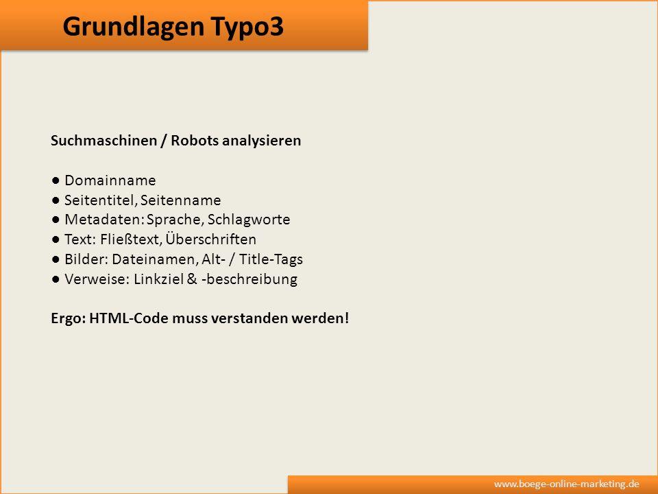 Grundlagen Typo3 Suchmaschinen / Robots analysieren ● Domainname