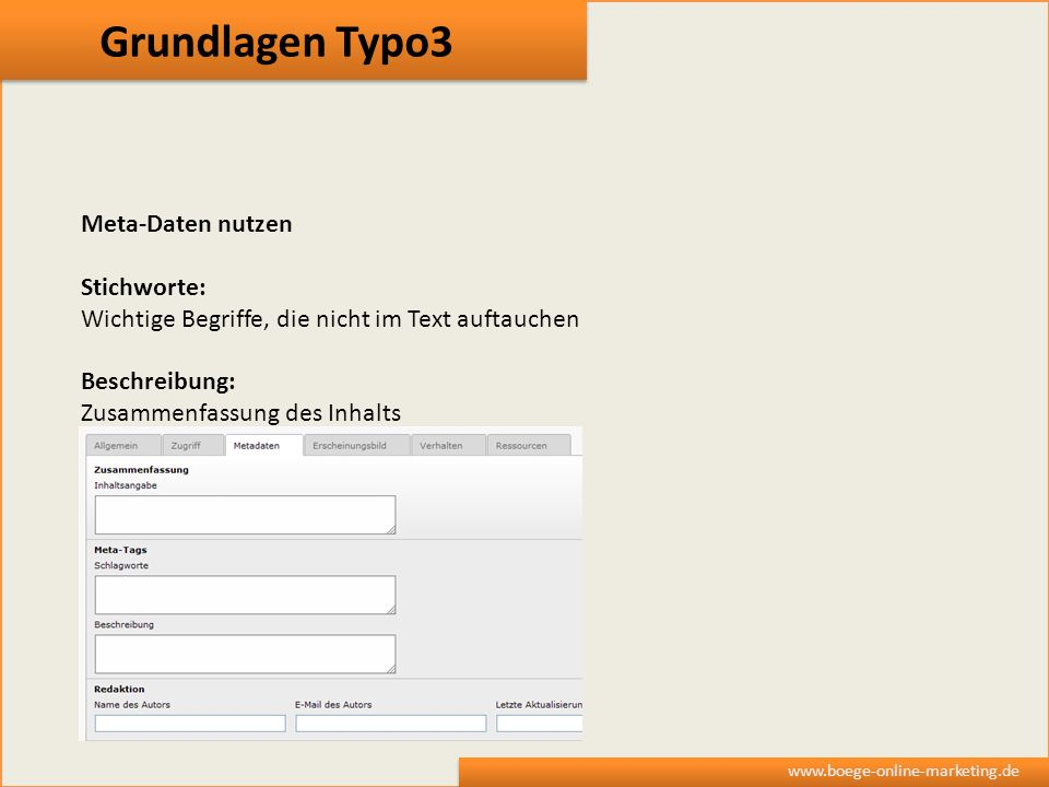 Grundlagen Typo3 Meta-Daten nutzen Stichworte: