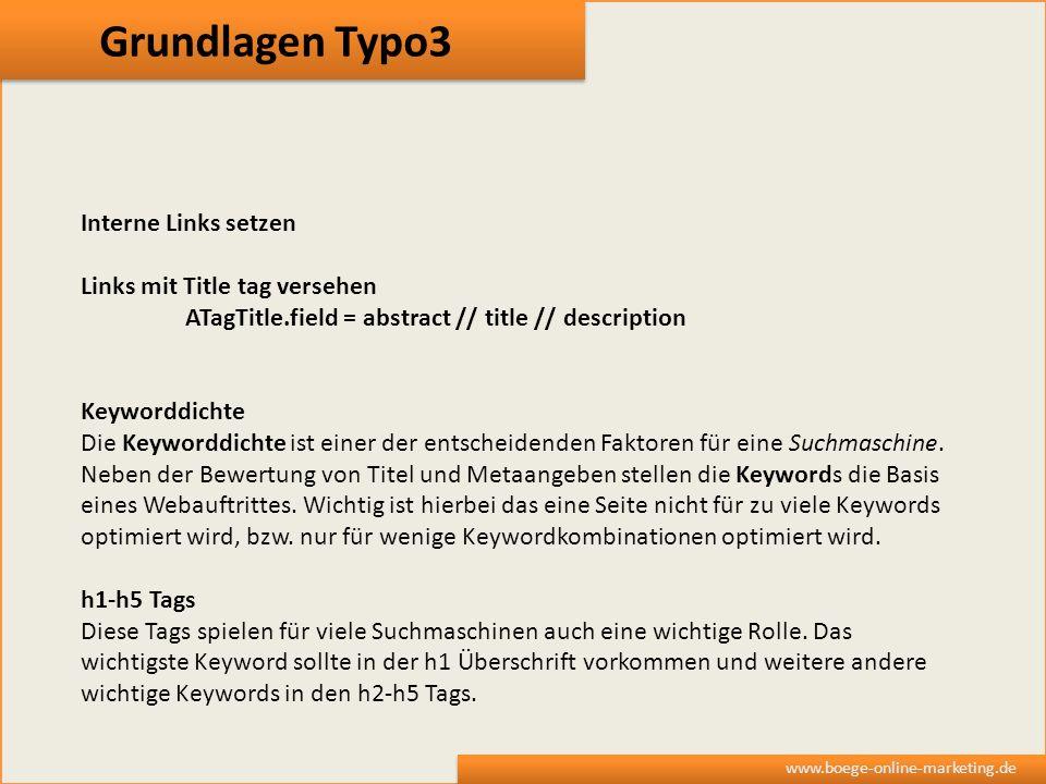 Grundlagen Typo3 Interne Links setzen Links mit Title tag versehen