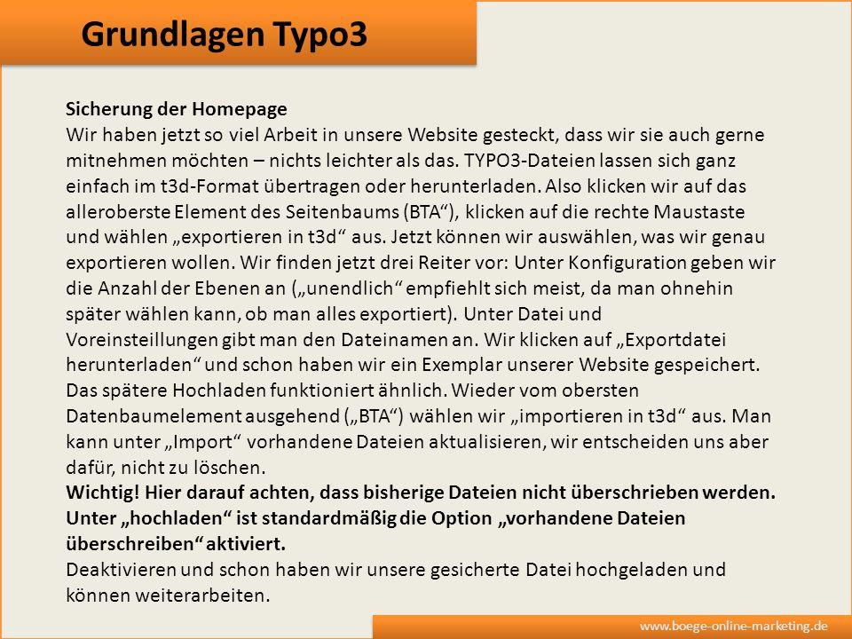 Grundlagen Typo3 Sicherung der Homepage