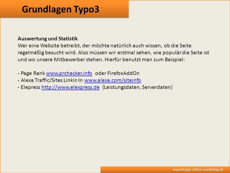 Grundlagen Typo3 Auswertung und Statistik