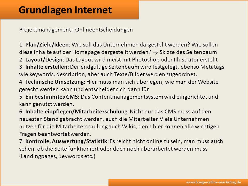 Grundlagen Internet Projektmanagement - Onlineentscheidungen