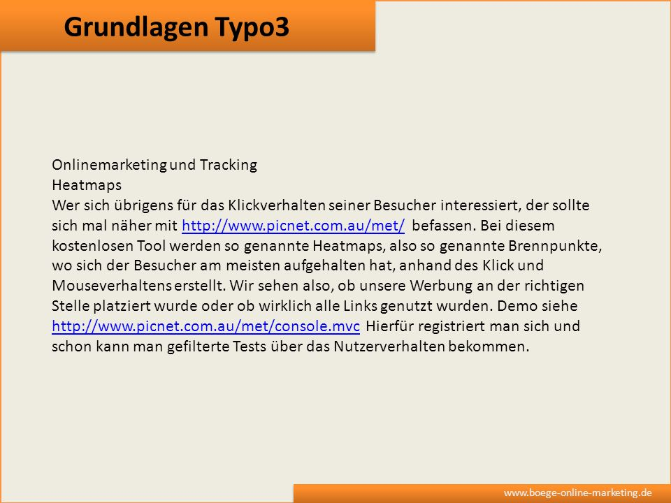 Grundlagen Typo3 Onlinemarketing und Tracking Heatmaps