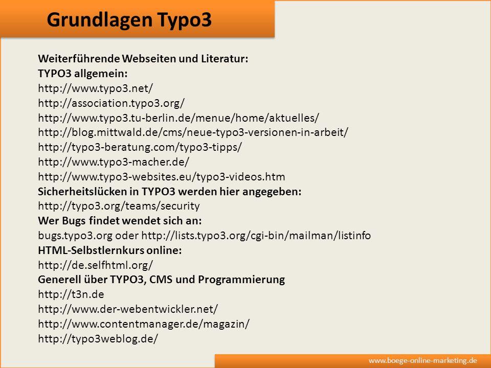 Grundlagen Typo3 Weiterführende Webseiten und Literatur: