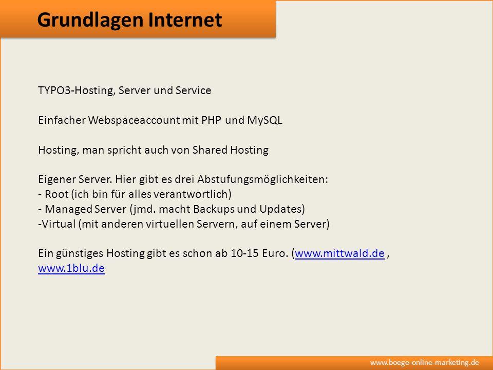 Grundlagen Internet TYPO3-Hosting, Server und Service