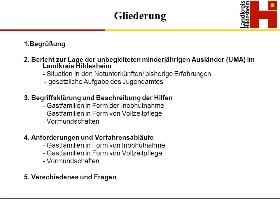 Gliederung 1.Begrüßung. 2. Bericht zur Lage der unbegleiteten minderjährigen Ausländer (UMA) im Landkreis Hildesheim.