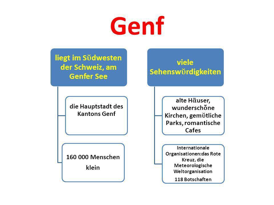 Genf liegt im Sῠdwesten der Schweiz, am Genfer See. die Hauptstadt des Kantons Genf. 160 000 Menschen.