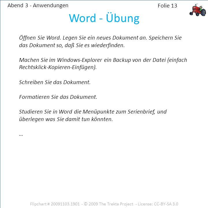 Word - Übung Abend 3 - Anwendungen