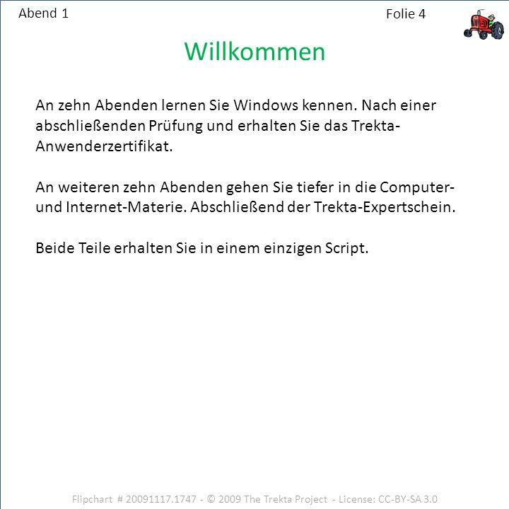 Abend 1 Willkommen. An zehn Abenden lernen Sie Windows kennen. Nach einer abschließenden Prüfung und erhalten Sie das Trekta-Anwenderzertifikat.