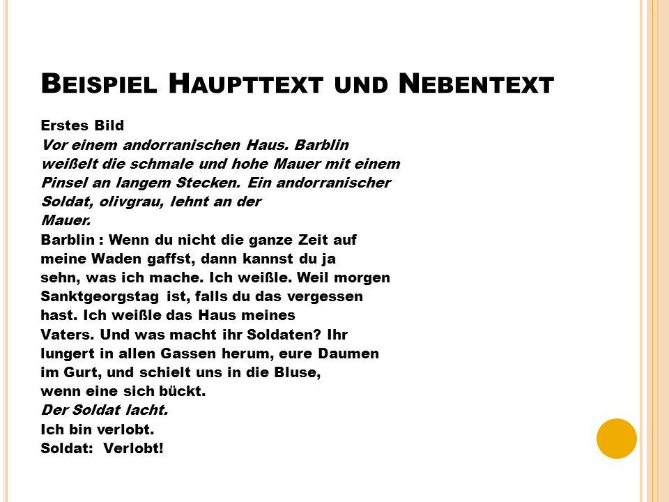 Beispiel Haupttext und Nebentext