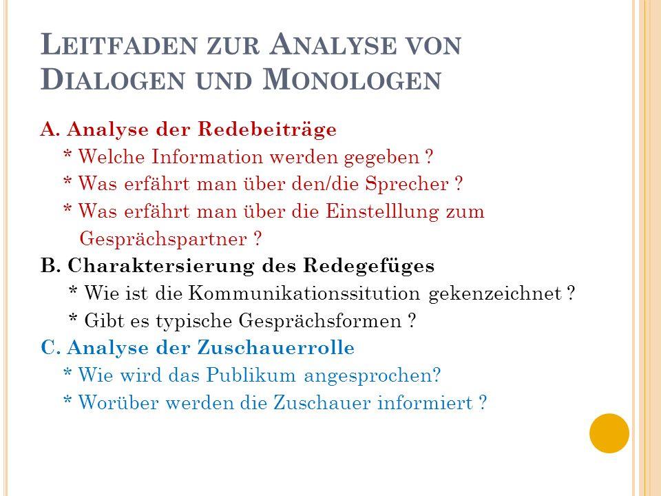 Leitfaden zur Analyse von Dialogen und Monologen