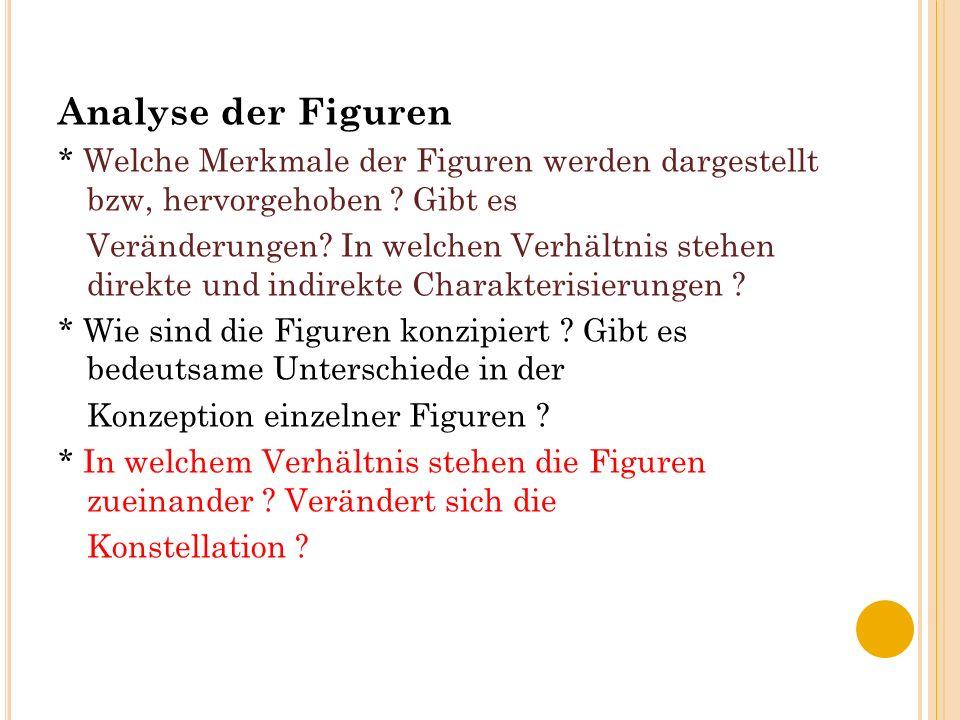 Analyse der Figuren * Welche Merkmale der Figuren werden dargestellt bzw, hervorgehoben Gibt es.