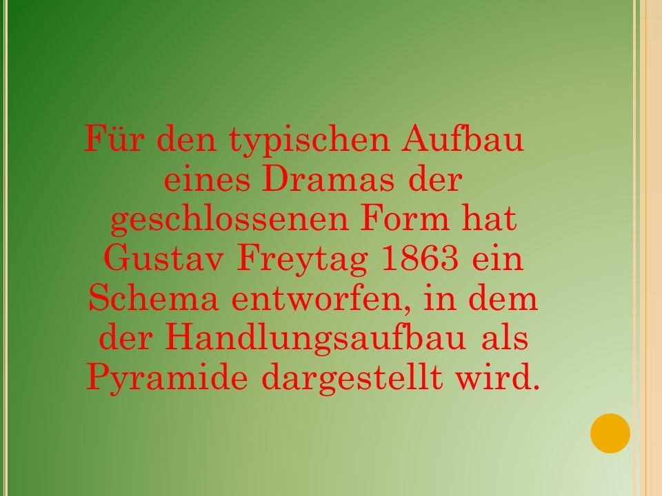 Für den typischen Aufbau eines Dramas der geschlossenen Form hat Gustav Freytag 1863 ein Schema entworfen, in dem der Handlungsaufbau als Pyramide dargestellt wird.