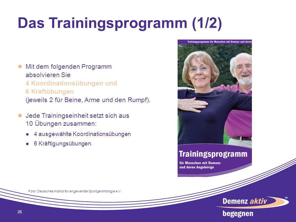 Das Trainingsprogramm (1/2)
