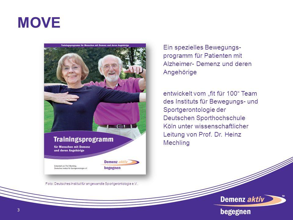 MOVE Ein spezielles Bewegungs- programm für Patienten mit Alzheimer- Demenz und deren Angehörige.