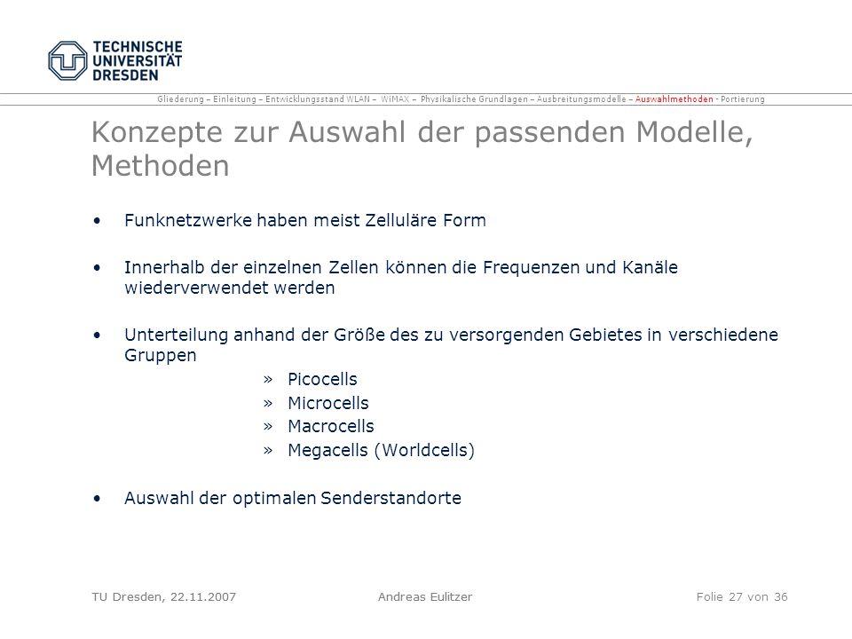 Konzepte zur Auswahl der passenden Modelle, Methoden
