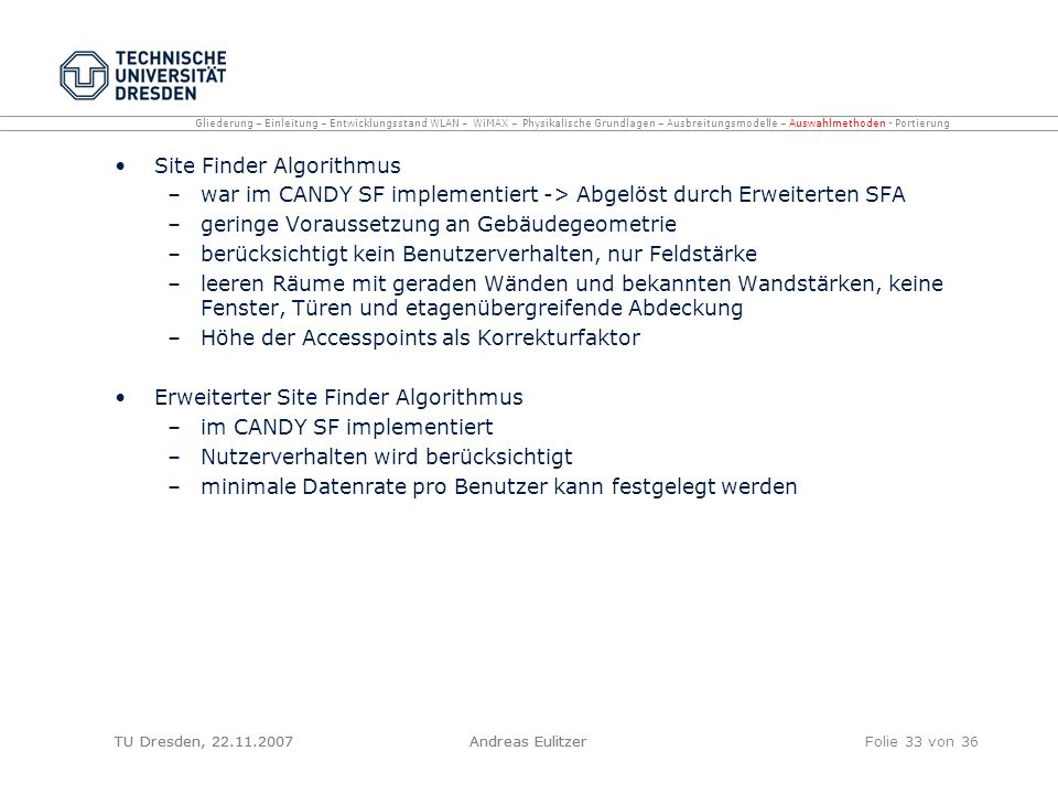 Site Finder Algorithmus