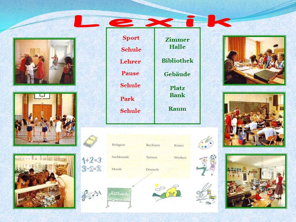 Lexik Sport Zimmer Halle Schule Bibliothek Lehrer Gebäude Pause Platz