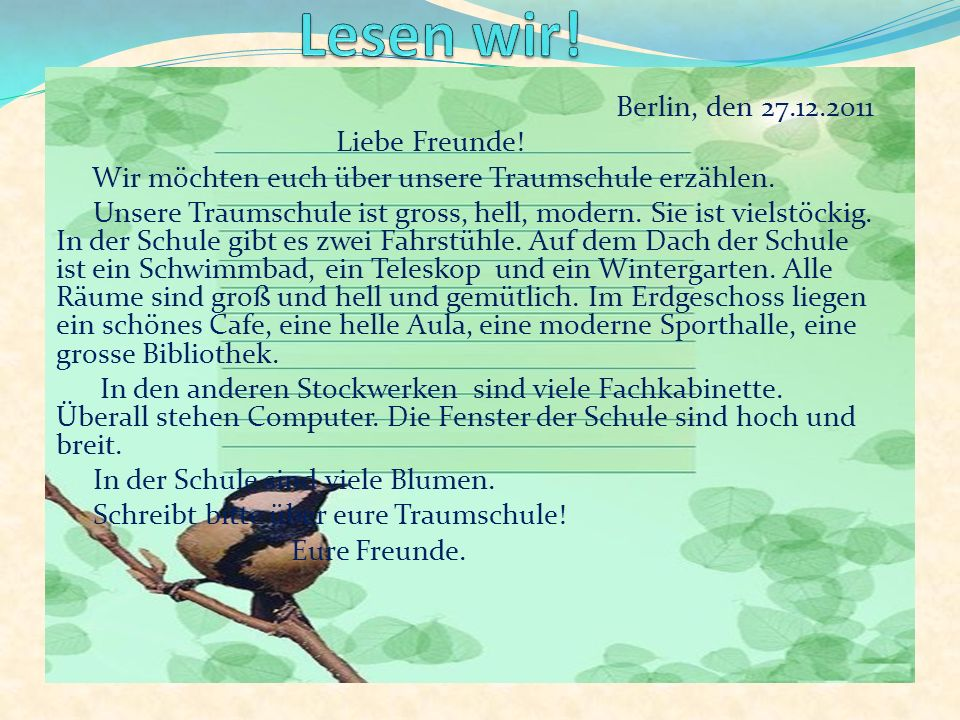 Lesen wir! Berlin, den 27.12.2011 Liebe Freunde!