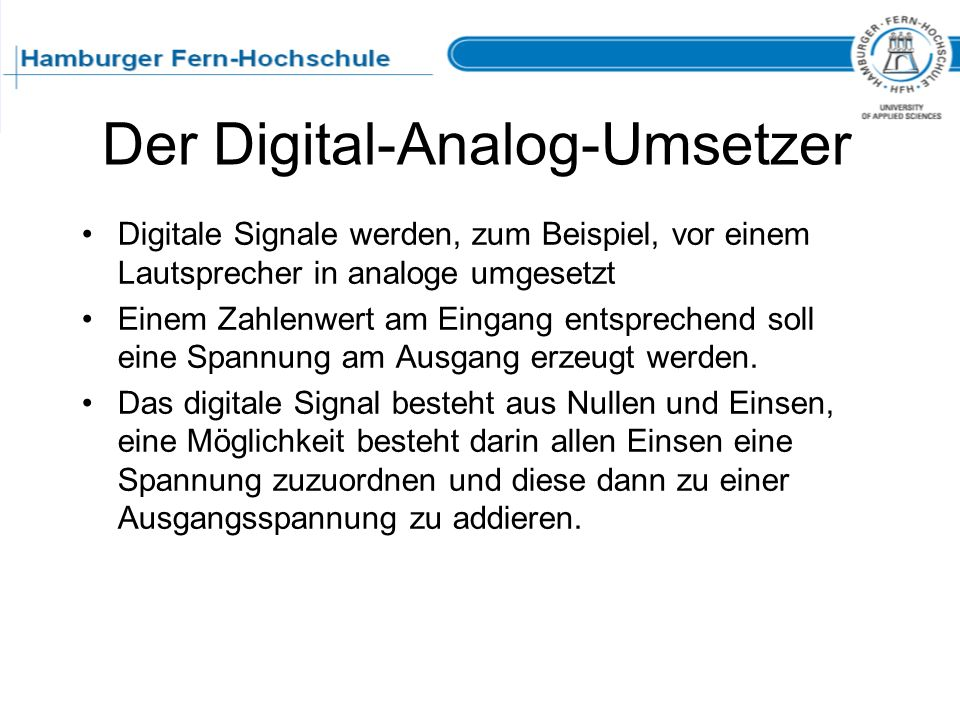 Der Digital-Analog-Umsetzer