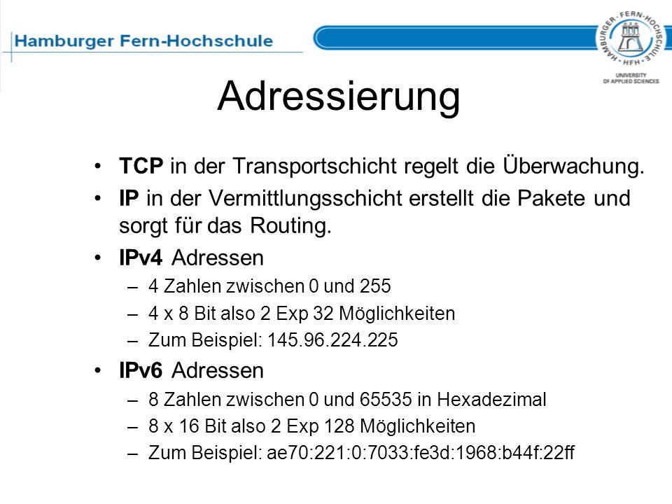 Adressierung TCP in der Transportschicht regelt die Überwachung.