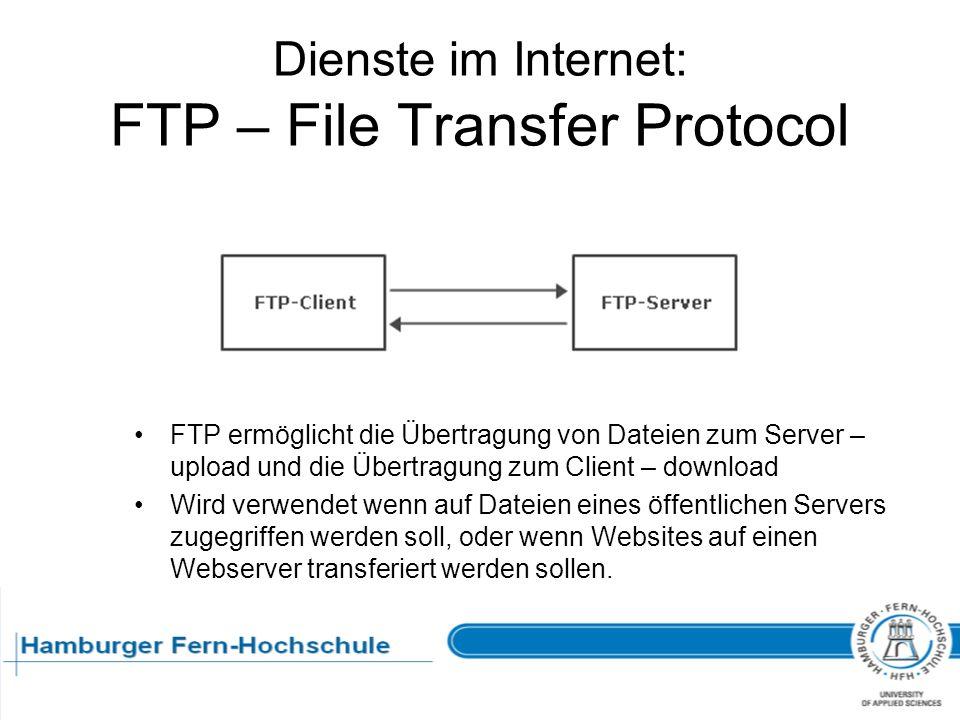 Dienste im Internet: FTP – File Transfer Protocol